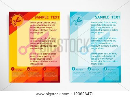 Scissors Icon With Cut Lines On Abstract Vector Modern Flyer