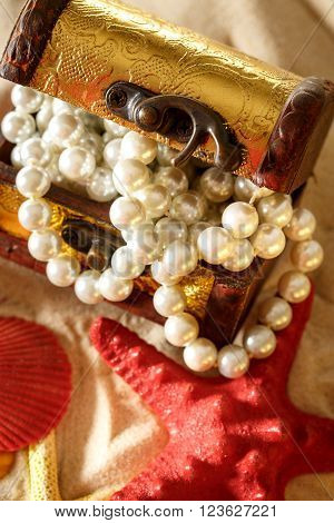 Treasure Chest With Seashells And Pearl