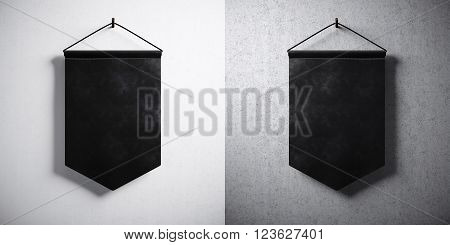 Photo double black pennant hanging on concrete wall. High detailed texture material. Ready for your business information. Abstract background. Horizontal