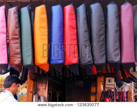 JAIPUR, INDIA - NOVEMBER 15: Display of  motobike seat covers at Johari Bazaar street on November 15, 2014 in Jaipur, India. Jaipur is the capital and the largest city of Rajasthan.