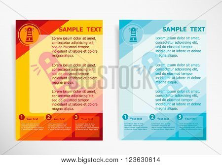 Lighthouse Icon On Abstract Vector Modern Flyer