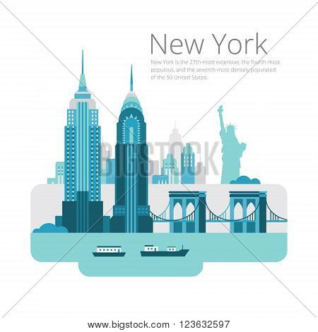 New York City architecture vector illustration. Landscape of buildings and Brooklyn Bridge.