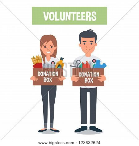 Young Volunteers with food donation and clothes donation boxes. Vector concept illustrations.