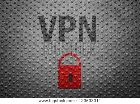 VPN text on metal background with red lock -- Internet security concept