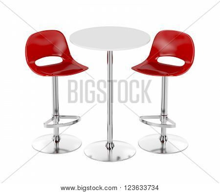 3D Illustration of bar table and stools on white background