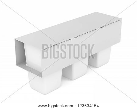 3D Illustration of packs of three plastic containers for yogurt ice cream pudding or other products