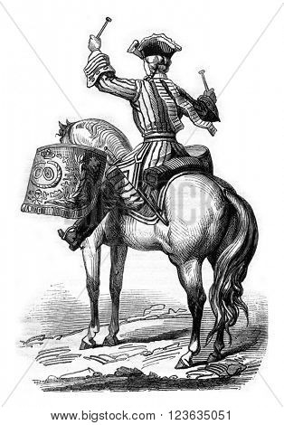 Timpanist General of the cavalry colonel in 1724, vintage engraved illustration. Magasin Pittoresque 1869.