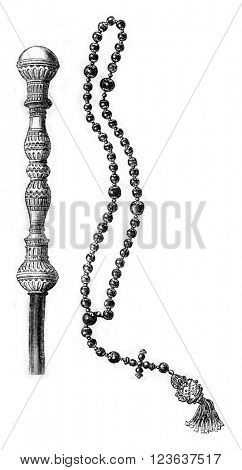 Walking stick and beads of Prince Radziwill Orphan, vintage engraved illustration. Magasin Pittoresque 1869.