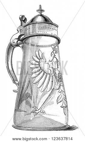 Pot of beer Sigismund Augustus, preserved in a collection of Paris, vintage engraved illustration. Magasin Pittoresque 1869.