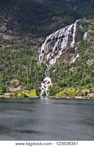 Norway Fiord And Waterfall