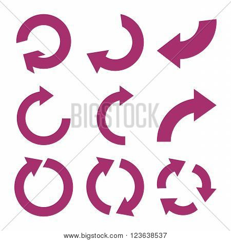 Rotate Clockwise vector icon set. Collection style is purple flat symbols on a white background.