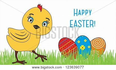 Happy Easter. Cute chicken cartoon characters illustrations.