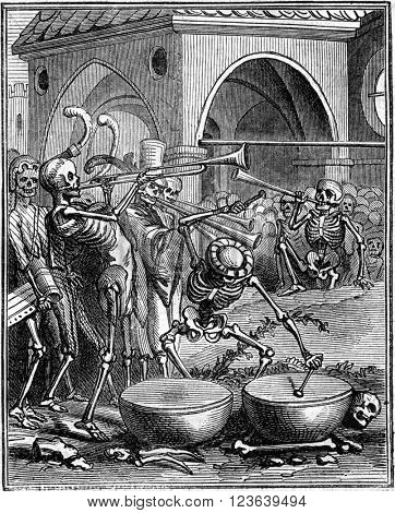 Death playing timpani, vintage engraved illustration. Magasin Pittoresque 1869.