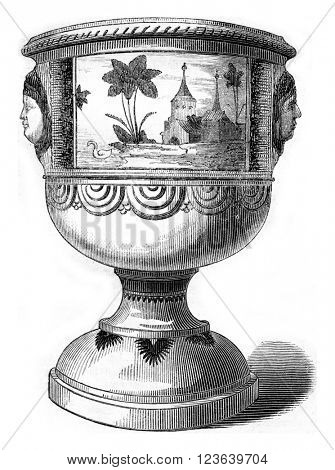 Earthenware vase of ancient porcelain Trianon, vintage engraved illustration. Magasin Pittoresque 1857.