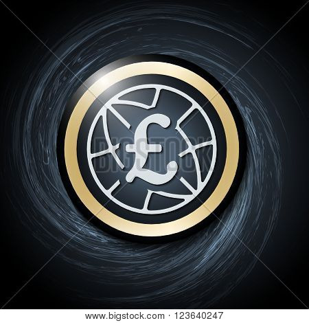 Dark background with abstract spirals and pound sterling icon