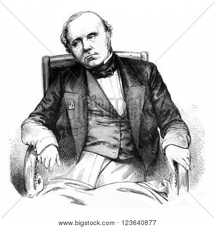 Augustin Thierry, vintage engraved illustration. Magasin Pittoresque 1857.
