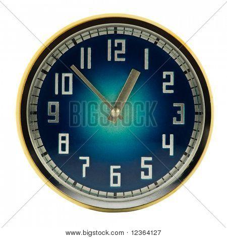Vintage mechanical wind-up clock isolated on white background