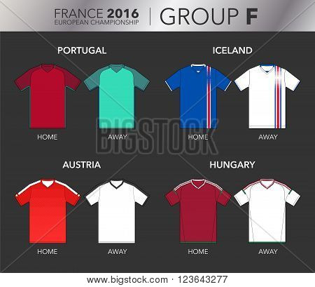 Vector Illustration of home and away football EURO 2016 shirts from the teams of the group F (Portugal, Iceland, Austria and Hungary)