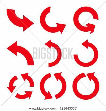 Rotate Counterclockwise vector icon set. Collection style is red flat symbols on a white background.