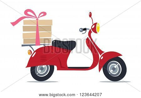 Pizza Delivery. Vector illustration of funny red scooter or motobike or moped with boxes of hot pizza, tied with rose ribbon