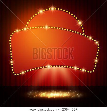 Shining Retro Casino Banner On Stage Curtain