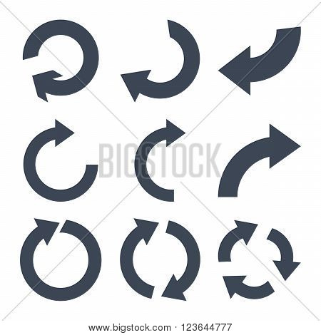Rotate Clockwise vector icon set. Collection style is smooth blue flat symbols on a white background.