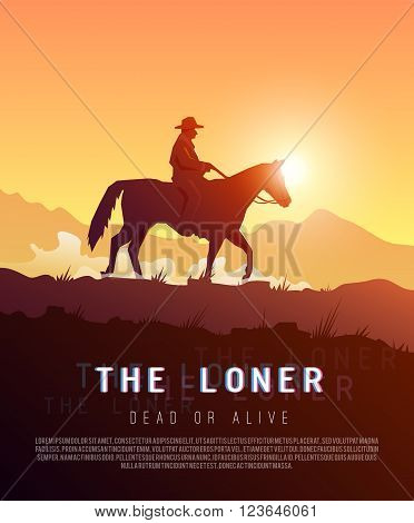 Stylish vector poster wild West , Colonization of America, adventure, horse riding, seclusion and loneliness, cowboys. Modern flat design.