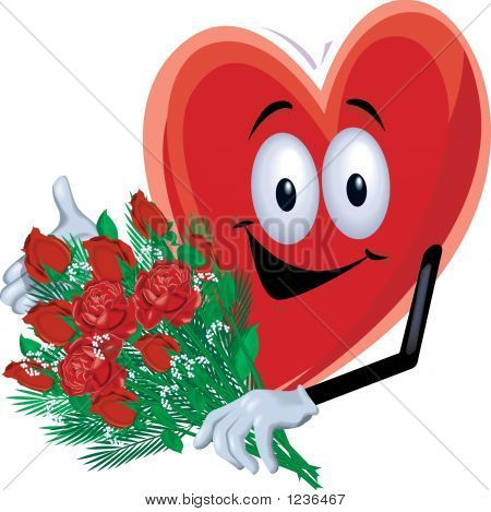 Heart Man With Roses