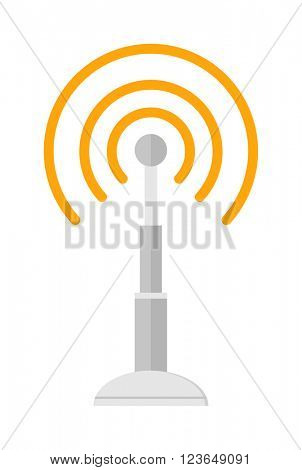 Telecommunications radio antenna tower or mobile phone base station with engineers concept vector.