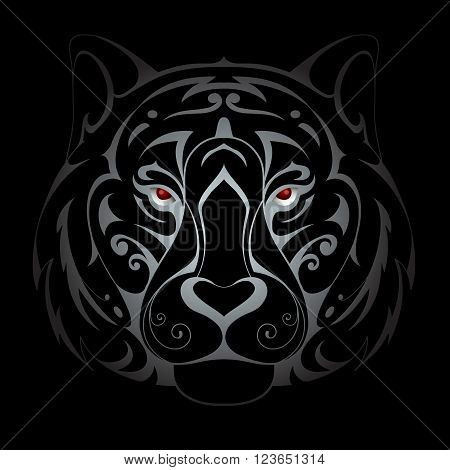 Silver tiger head tattoo shape in the dark