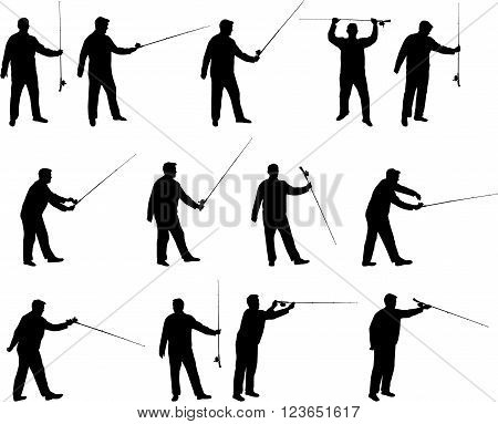 Various fisherman with fishing rod vector silhouettes