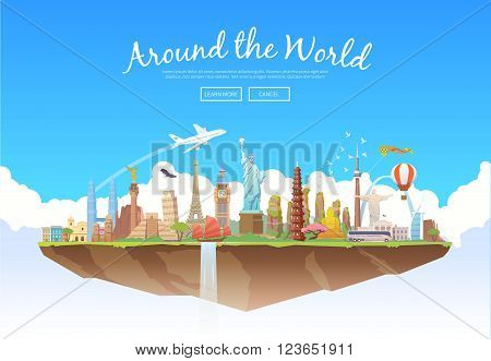 Travel to World. Road trip. Tourism. Landmarks on the flying island. Concept website template. Vector illustration. Modern flat design.