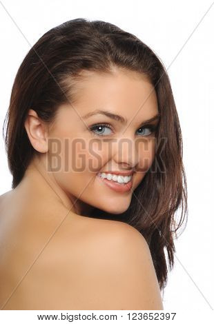 Portrait of young beautiful burnett isolated on a white background