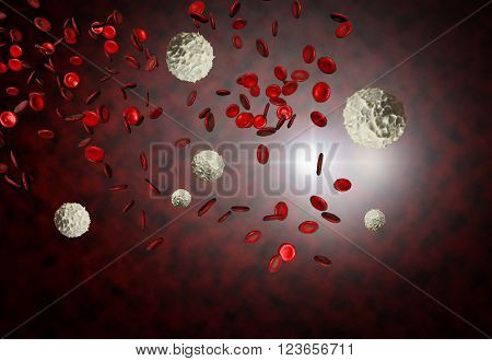 Healthy human red and white bloodcells in close up 3d graphics render