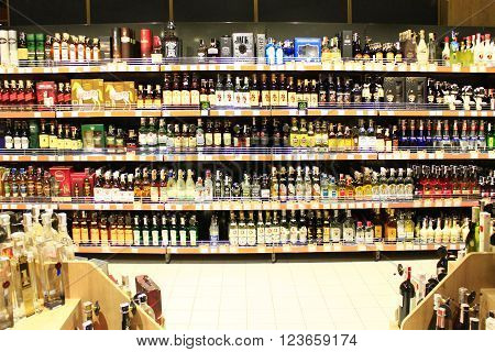 Chernihiv / Ukraine. 06 March 2016: alcoholic drinks on the shelves of supermarket in Chernihiv. 06 March 2016 in Chernihiv / Ukraine.
