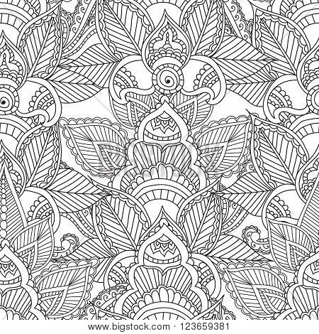 Coloring pages for adults. Seamless pattern.Henna Mehndi Doodles Abstract Floral Paisley Design Elements MandalaVector Illustration. Coloring book. Coloring pages for adults.