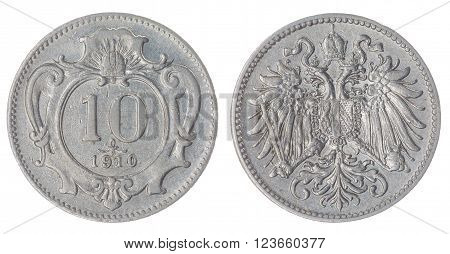 10 Heller 1910 Coin Isolated On White Background, Austro-hungarian Empire