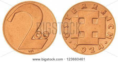 Bronze 200 kronen 1924 coin isolated on white background, Austria