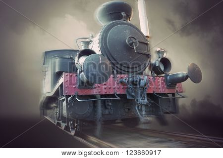 Vintage steam locomotive in blurred motion sepia tone