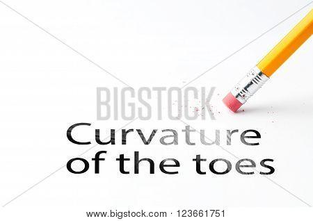 Closeup of pencil eraser and black curvature of the toes text. Curvature of the toes. Pencil with eraser.