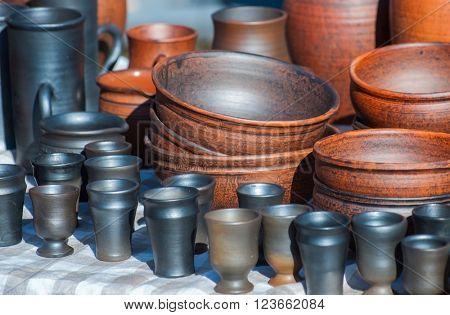 Handmade ceramic ware. Black smoke ceramic ware.