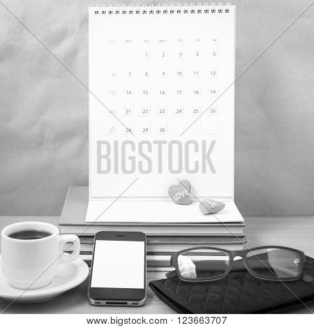 wooden working table with tools for work.black and white tone colour style