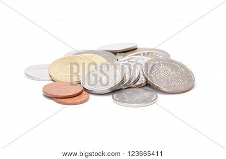 Handful Of Thai Coins Isolated On White
