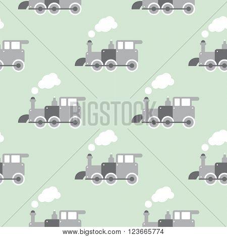 Seamless retro style toy steam train Scandinavian kids background pattern in vector