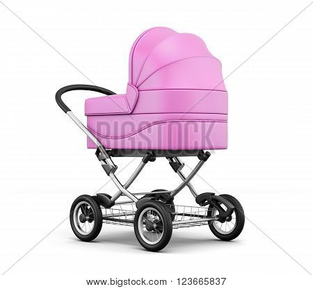 Retro baby stroller isolated on white background. 3d render image.