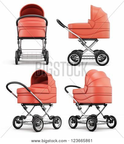 Different angle baby stroller isolated on white background. 3d rendering.