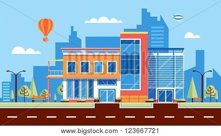 Stock vector illustration city street with administrative building, modern architectures, office building in flat style element for infographic, website, icon, games, motion design, video