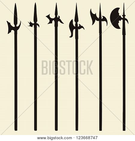 Set of historical halberd silhouettes. Illustration with slashing weapons on a light background.