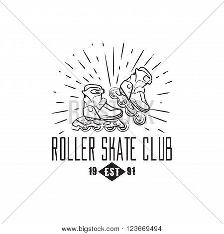 Roller skates label, badge and design element isolated on white background. Vector