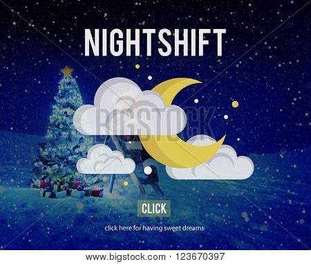 Night shift Business Evening Hours Overtime Concept
